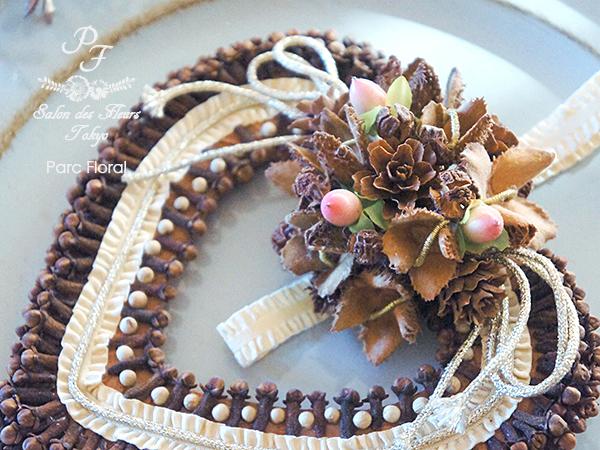 木の実とスパイスアレンジクローブのハート飾り