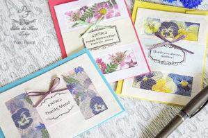 押し花のグリーティングカード