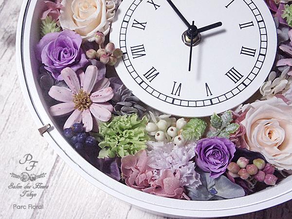 プリザーブドフラワーを入れた華やかな花時計